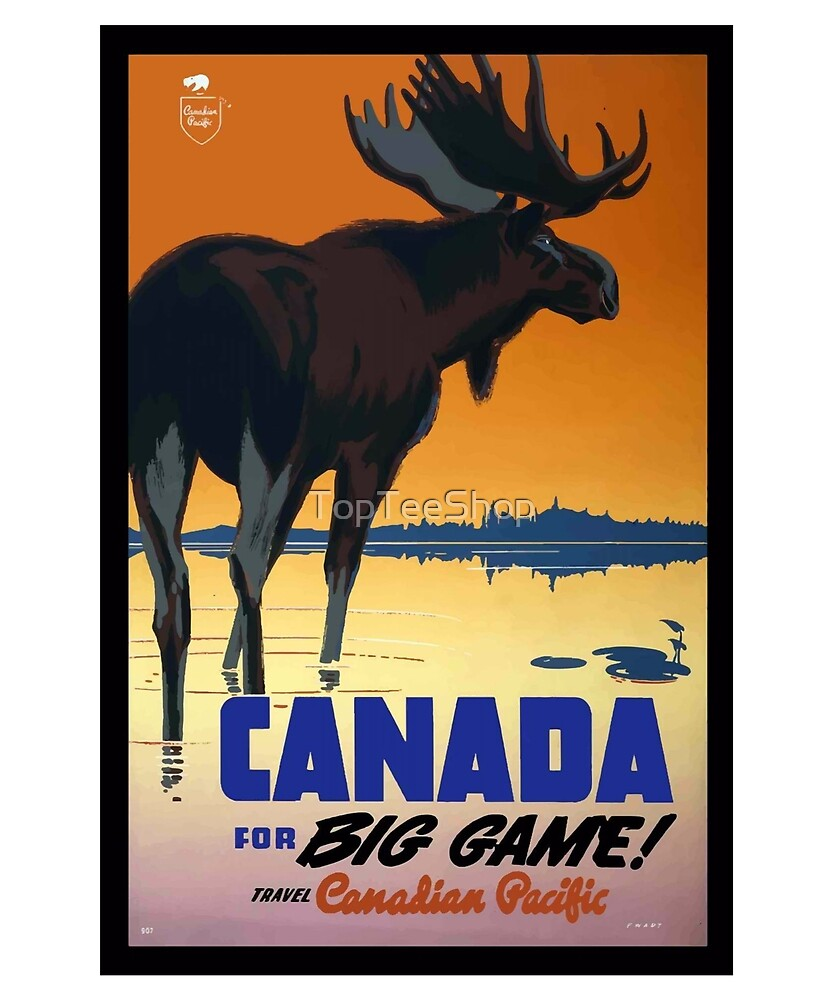 Vintage Canada T-Shirt Deer Game Retro Canadian Ad Poster by TopTeeShop