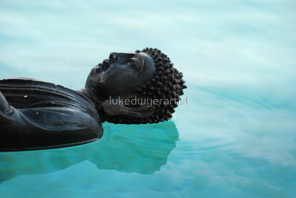 Buddha Floating in pool Calm Peaceful Water by lukedwyerartist