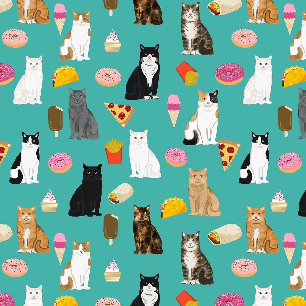 Cat breeds junk foods ice cream pizza tacos donuts purritos feline fans gifts  by Catclub