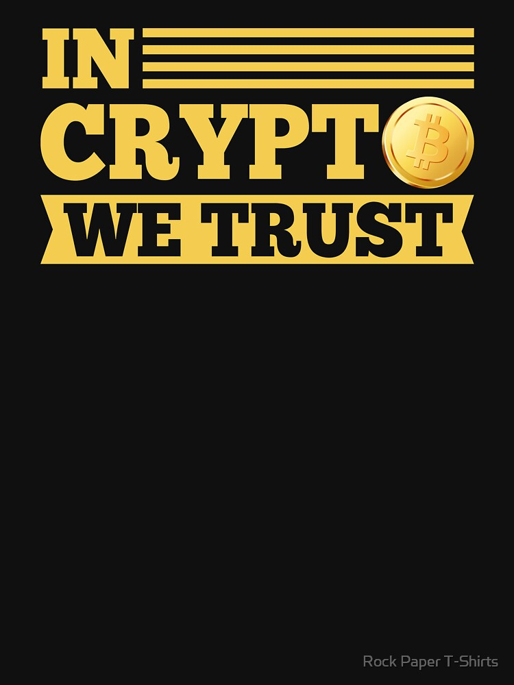 In Crypto We Trust Bitcoin (yellow) by rockpapershirts
