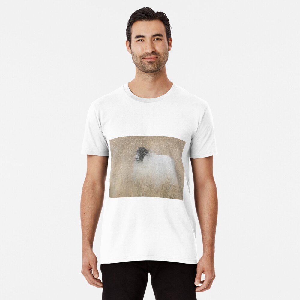Moorland sheep in the snow Premium T-Shirt