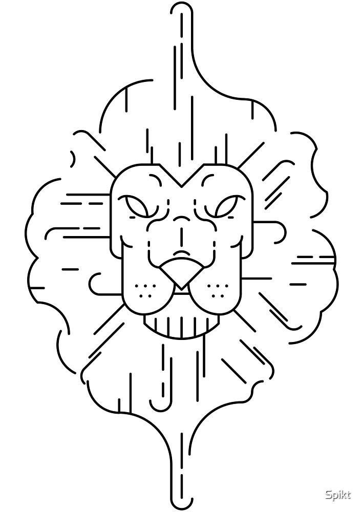 Lion Lineart Black by Spikt