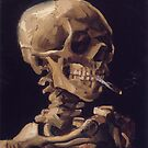 Original Vincent Willem van Gogh Impressionist Art Painting Restored Skull with a Burning Cigarette by jnniepce