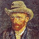 Original Vincent Willem van Gogh Impressionist Art Painting Restored Self portrait with Felt Hat by jnniepce