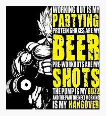 Working Out Is My Partying - Anime Gym Motivation  Photographic Print