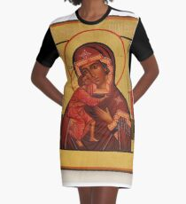 Russian Icon of the Mother of God Feodorowskaya with Saints Graphic T-Shirt Dress
