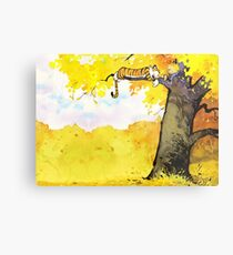 Calvin and Hobbes - Fall Break Metal Print