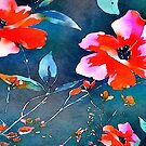 fuschia pink teal colorful tropical flower watercolor hibiscus by lfang77