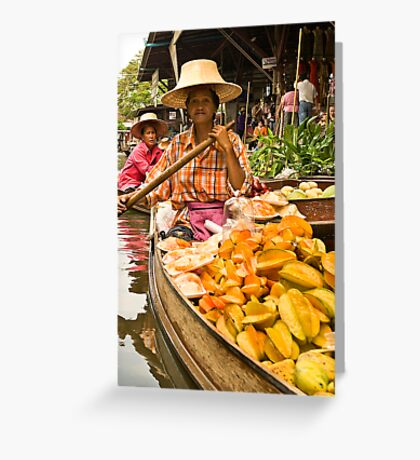 Fruit Boat at Floating Market Greeting Card