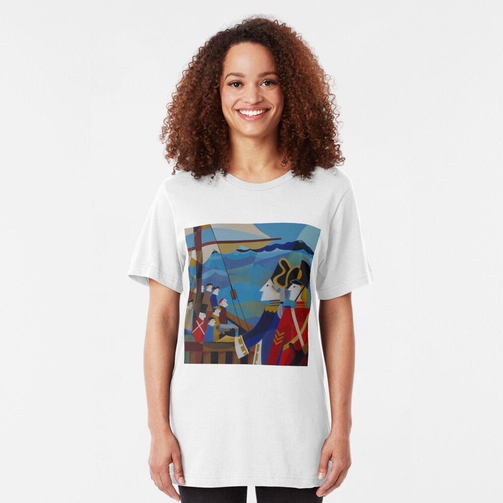 H.M.S.SARAH IN STORM BAY 1837 Slim Fit T-Shirt