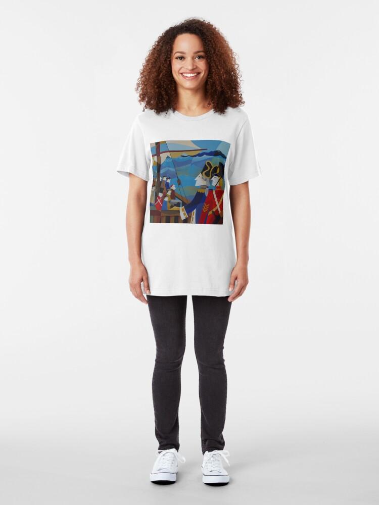 Alternate view of H.M.S.SARAH IN STORM BAY 1837 Slim Fit T-Shirt