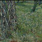 Original Vincent Willem van Gogh Impressionist Art Painting Restored Tree Trunks in the Grass by jnniepce