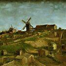 Original Vincent Willem van Gogh Impressionist Art Painting Restored The Hill of Monmartre by jnniepce