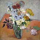 Original Vincent Willem van Gogh Impressionist Art Painting Restored Still Life Japanese Vase with Roses and Anemones by jnniepce