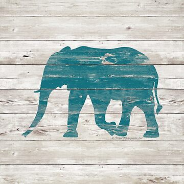 Rustic Teal Elephant on White Painted Wood A222a by byNicol