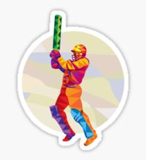 Cricket Player Batsman Batting Low Polygon Sticker