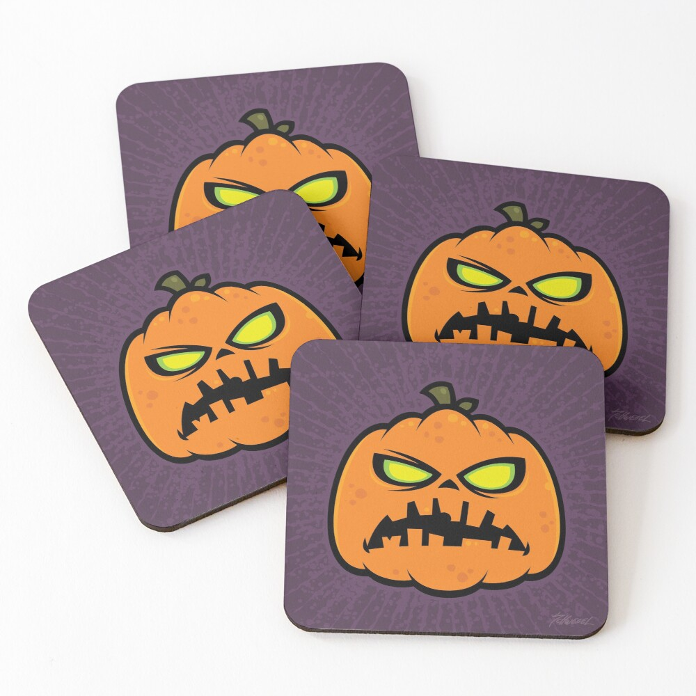 Pumpkin Zombie Coasters (Set of 4)