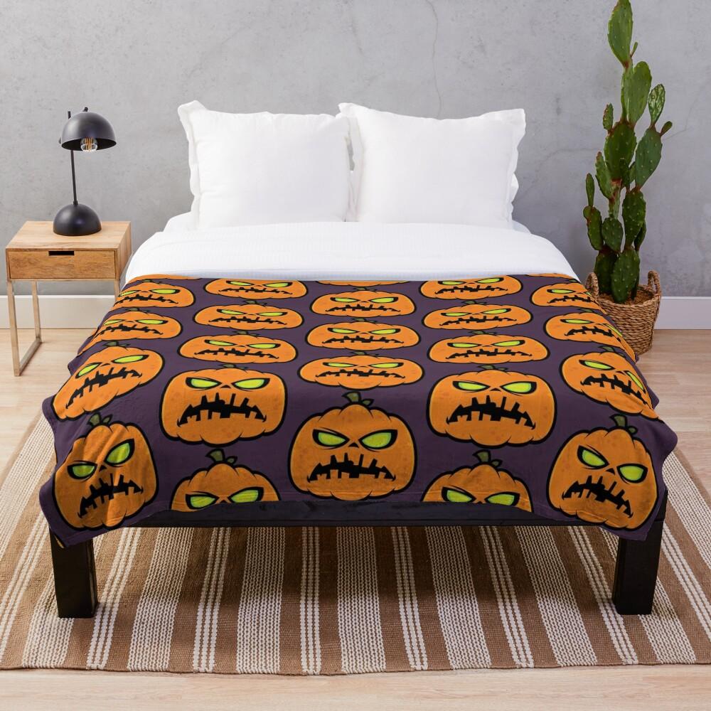 Pumpkin Zombie Throw Blanket