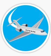 Commercial Light Passenger Airplane Circle Retro Sticker