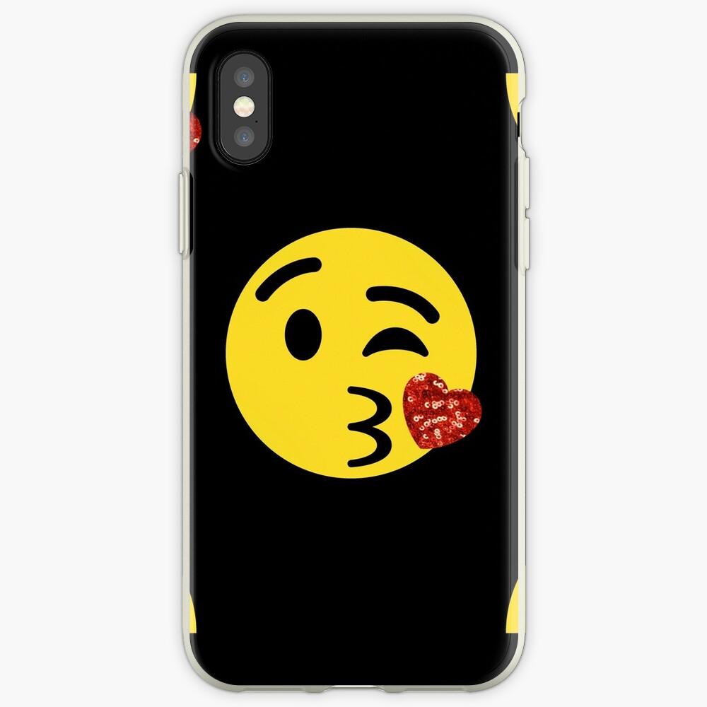 glitter kiss emoji | iPhone Case & Cover