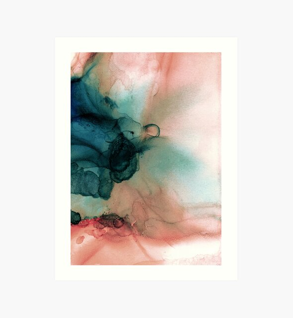 Blue and Peach Abstract Painting by PrintsProject