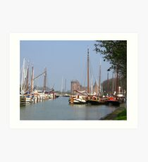The Harbour and the Castle - along the river Vecht Art Print