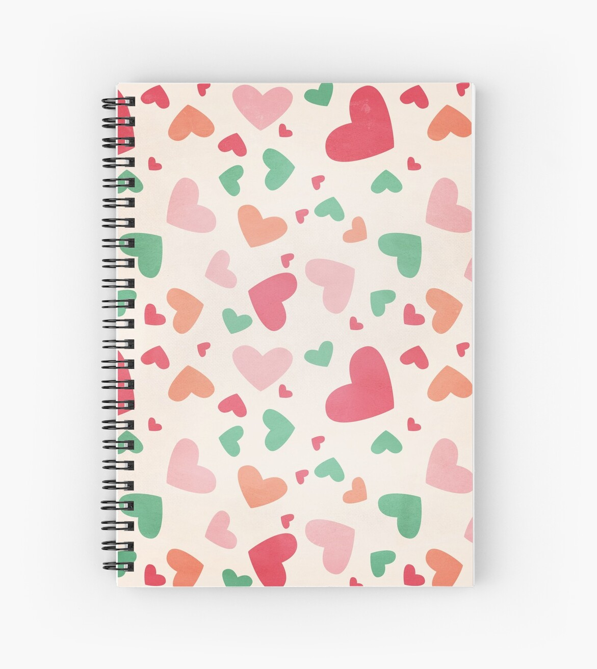 Playful Hearts Pink Red Green