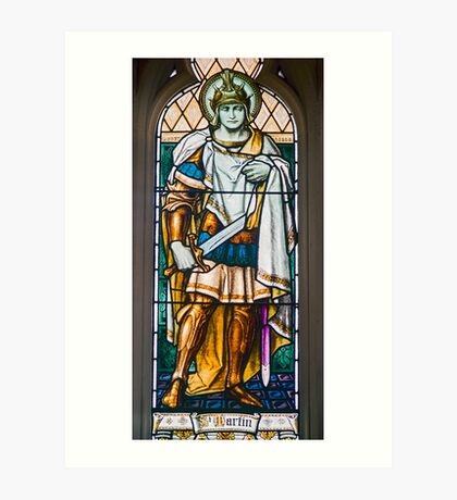 Stained Glass Window of St Martin, St Davids Cathedral, Hobart Art Print