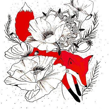 Fox in a Poppy Field by CraftyRedFox