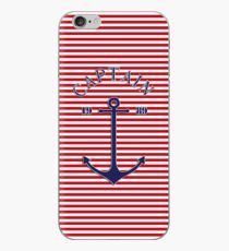 Captain anchor on thin red navy stripes marine style  iPhone Case