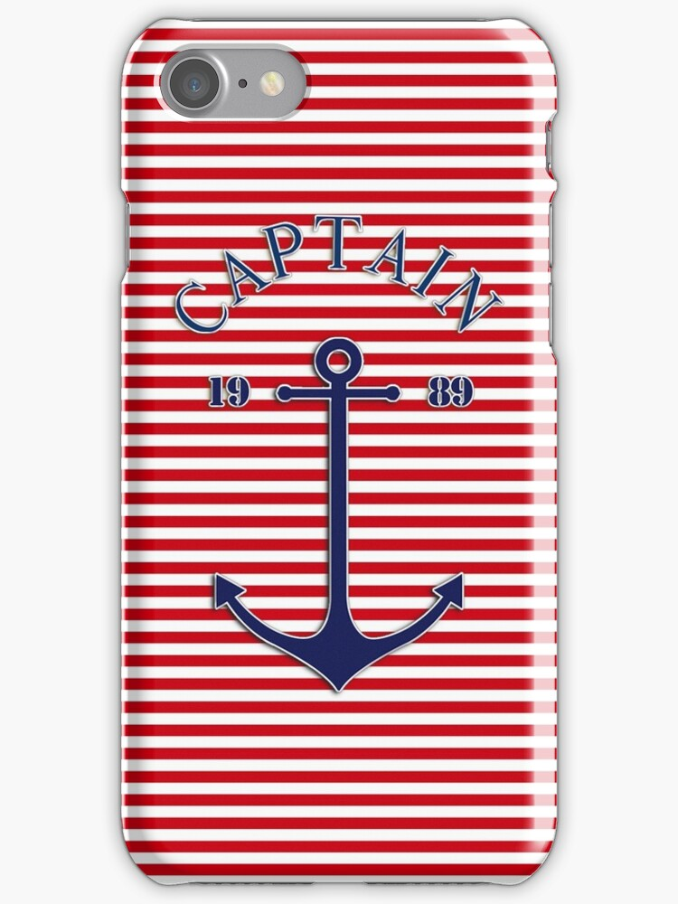Captain anchor on thin red navy stripes marine style  by mikath
