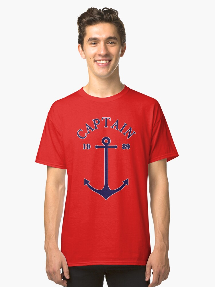Captain anchor on thin red navy stripes marine style  Classic T-Shirt Front