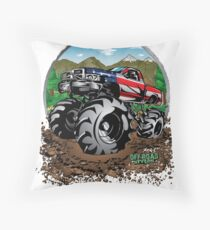 Mud Truck USA Country Style Throw Pillow