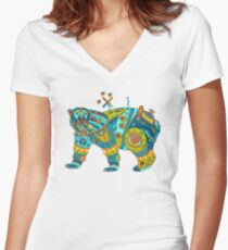 Polar Bear, cool art from the AlphaPod Collection Women's Fitted V-Neck T-Shirt