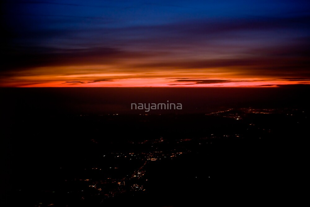 Sunset over Bristol from plane 2 by nayamina