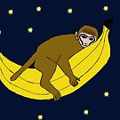 Baby monkey riding on a banana through space by bad-squirrel