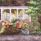 Flower Pots and a Flower Barrel by Susan Savad