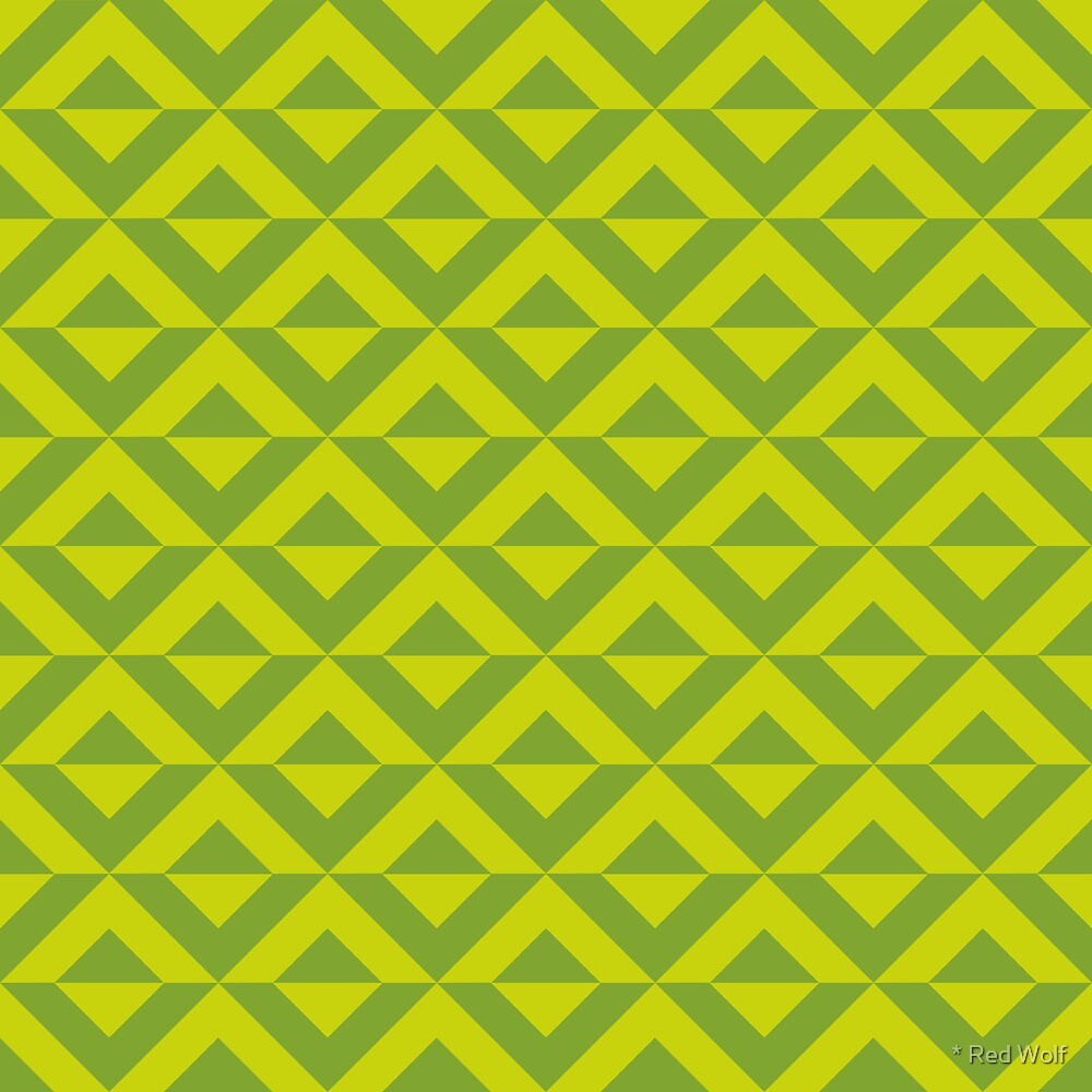 Geometric Pattern: Diamond Split: Green by * Red Wolf