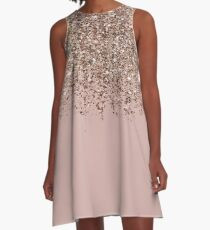 Erröten Rosa Rose Gold Bronze Cascading Glitter A-Linien Kleid