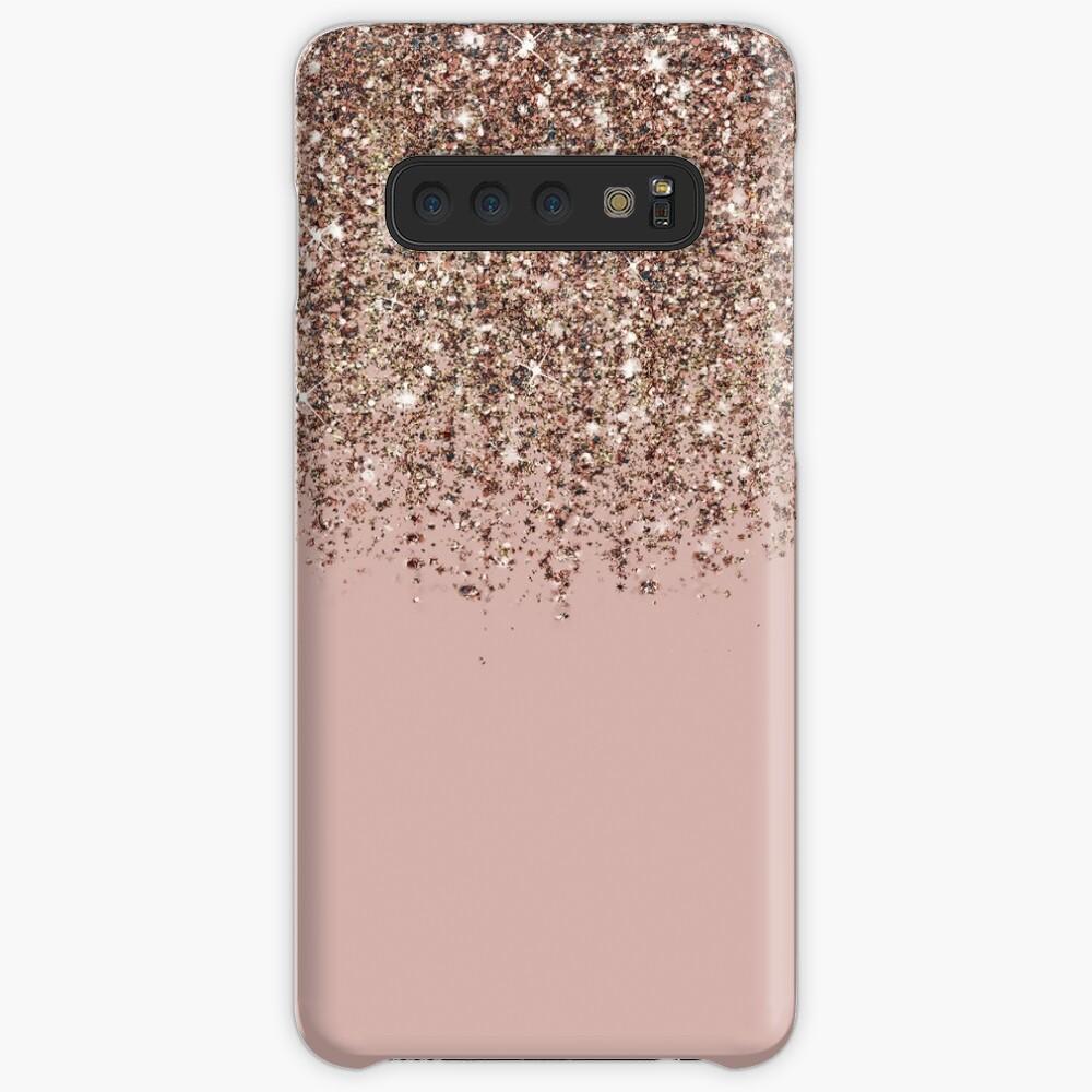 Blush Pink Rose Gold Bronze Cascading Glitter Case & Skin for Samsung Galaxy