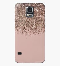 Blush Pink Rose Gold Bronze Cascading Glitter Case/Skin for Samsung Galaxy