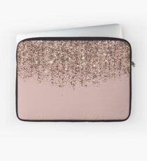 Erröten Rosa Rose Gold Bronze Cascading Glitter Laptoptasche