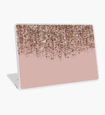 Blush Pink Rose Gold Bronze Cascading Glitter Laptop Skin