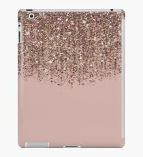 Blush Pink Rose Gold Bronze Cascading Glitter iPad Case/Skin