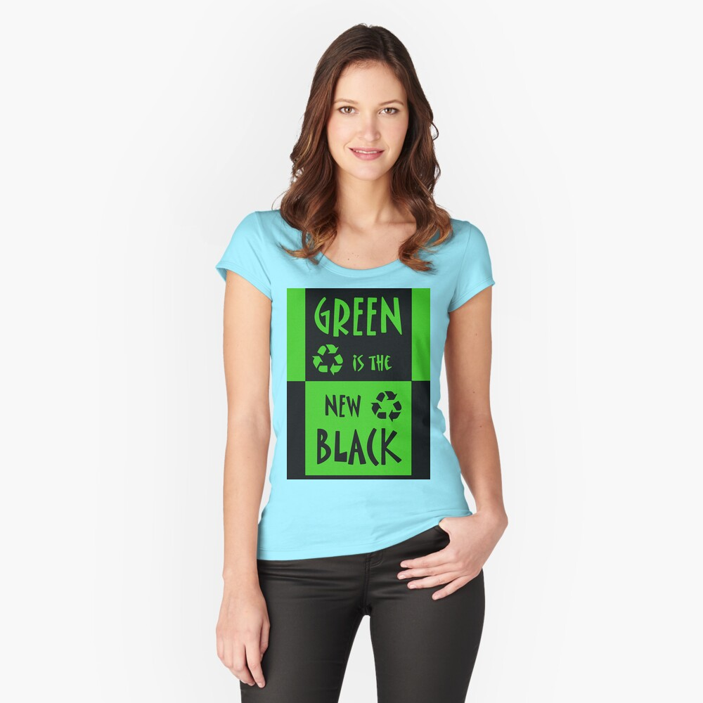 Green is the New Black Women's Fitted Scoop T-Shirt Front