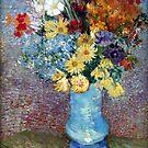 Original Vincent Willem van Gogh Impressionist Art Painting Restored Flowers in a Blue Vase 1887 by jnniepce