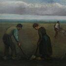 Original Vincent Willem van Gogh Impressionist Art Painting Restored Potato Farmers Planting by jnniepce