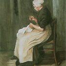 Original Vincent Willem van Gogh Impressionist Art Painting Restored 1881 Etten Scheveningen Woman Sewing by jnniepce
