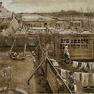 Original Vincent Willem van Gogh Impressionist Art Painting Restored The Hague Carpenters Yard and Laundry by jnniepce