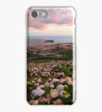 Azorean town at sunset iPhone Case/Skin